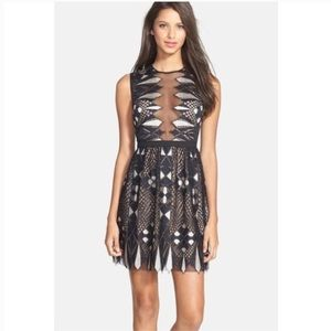 BCBG Kailey Fit & Flare Plunging Geo Lace Dress